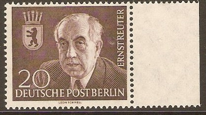 West Berlin 1954 20pf Reuter Commemoration Stamp. SGB112.