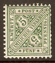 Wurttemberg 1890 5pf Green - Official stamp. SGO135.