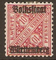 Wurttemberg 1919 10pf Rose - Official stamp. SGO236.
