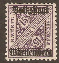Wurttemberg 1919 15pf Purple - Official stamp. SGO237.