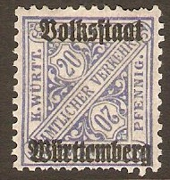 Wurttemberg 1919 20pf Ultramarine - Official stamp. SGO238.