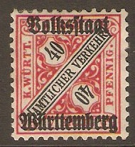 Wurttemberg 1919 40pf Black and carmine - Official stamp. SGO242