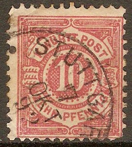 Wurttemberg 1875 10pf Pale rose. SG92.