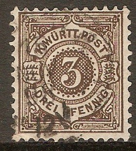 Wurttemberg 1890 3pf Brown. SG124.