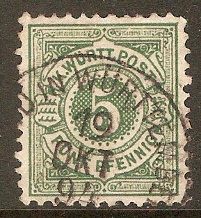 Wurttemberg 1890 5pf Yellow-green. SG126.
