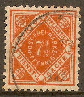 Wurttemberg 1906 7½pf Orange - Municipal stamp. SGM172.
