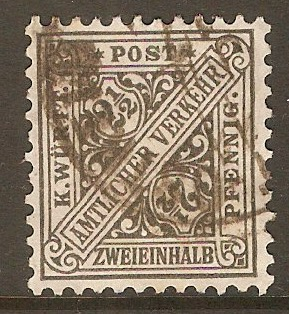 Wurttemberg 1906 2½pf Grey - Official stamp. SGO182.