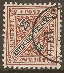 Wurttemberg 1906 25pf Black and brown - Official stamp. SGO192.