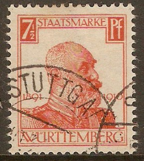 Wurttemberg 1916 7½pf Orange-red - Official Stamp. SGO210.