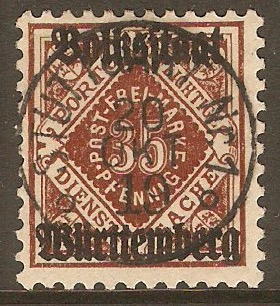 Wurttemberg 1919 35pf Red-brown - Municipal Stamp. SGM230.