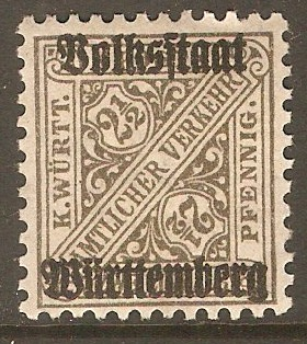 Wurttemberg 1919 2½pf Grey - Official stamp. SGO232.
