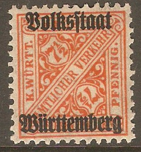 Wurttemberg 1919 7½pf Orange - Official stamp. SGO235.