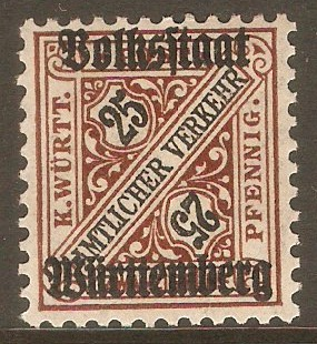 Wurttemberg 1919 25pf Black and brown - Official stamp. SGO239.