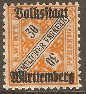 Wurttemberg 1919 30pf Black and orange - Official stamp. SGO240.