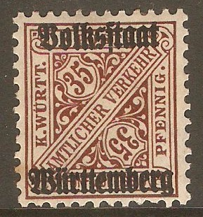 Wurttemberg 1919 35pf Red-brown - Official stamp. SGO241.