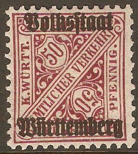 Wurttemberg 1919 50pf Deep maroon - Official stamp. SGO243.