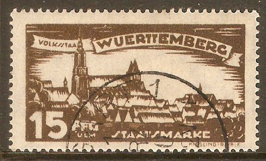 Wurttemberg 1920 15pf Brown - Official stamp. SGO252.