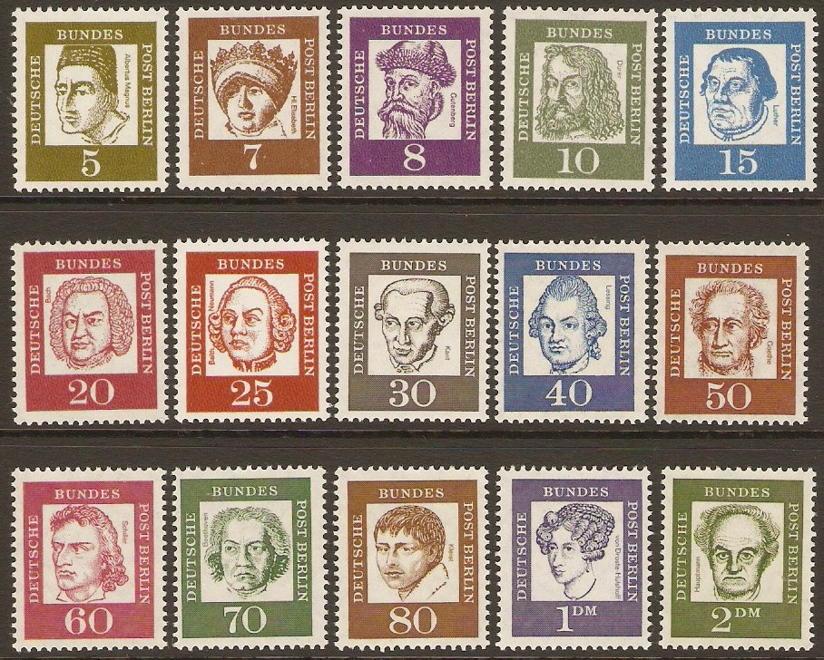 West Berlin 1961 Famous Germans Stamp Set. SGB194-SGB208.