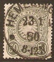 Germany 1875 50pf Grey green. SG37.