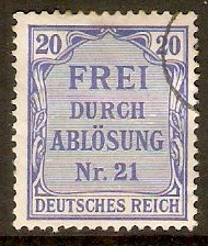 Germany 1903 20pf Ultramarine - Official stamp. SGO86.