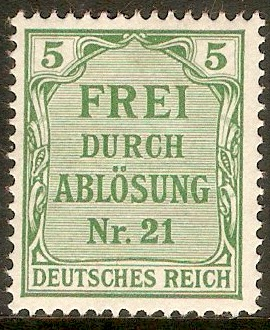 Germany 1903 5pf Green - Official stamp. SGO84.