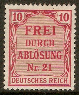 Germany 1903 10pf Carmine - Official stamp. SGO85.