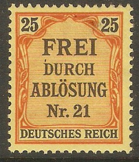Germany 1903 25pf Black and red on yellow - Official stmp. SGO87