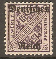 Germany 1920 15pf Wurttemberg Official series. SGO162.