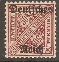 Germany 1920 50pf Wurttemberg Official series. SGO166.