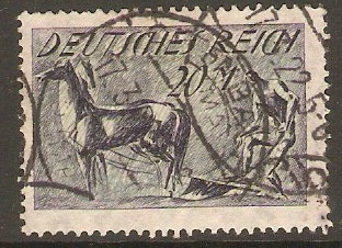 Germany 1921 20m Indigo and green - Ploughman. SG171.