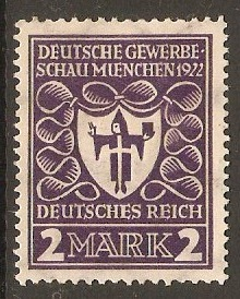 Germany 1922 2m Violet - Munich Exhibition series. SG199.