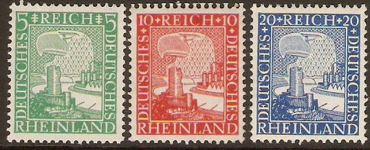 Germany 1925 Rheinland Millenary Set. SG384-SG386.