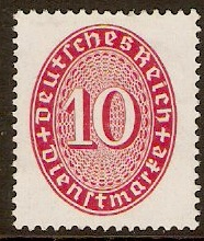 Germany 1927 10pf Carmine. SGO430.