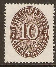 Germany 1927 10pf Reddish brown. SGO433.