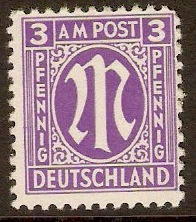 Germany 1945 3pf Violet - Allied Occ. series. SGA1.