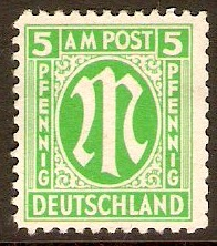 Germany 1945 5pf Emerald green - Allied Occ. series. SGA3.