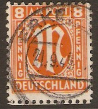 Germany 1945 8pf Orange - Allied Occ. series. SGA5.