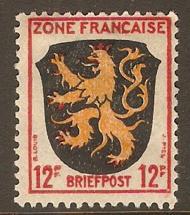 French Zone 1945 12pf Arms series. SGF6.
