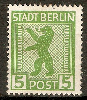 Russian Zone 1945 5pf Yellow-green. SGRA1.