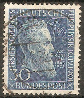 Germany 1951 30pf Rontgen Nobel Prize. SG1073.