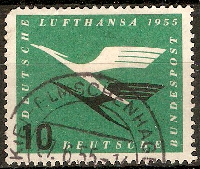 Germany 1955 10pf Blue-green and black - Lufthansa ser. SG1132.