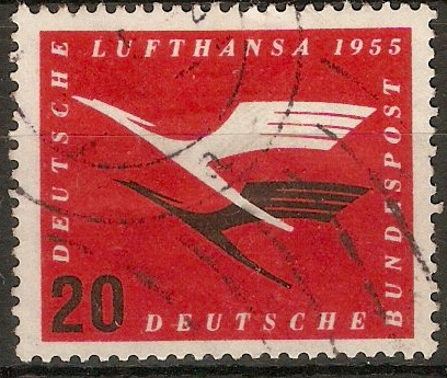 Germany 1955 20pf Scarlet and black - Lufthansa series. SG1134.