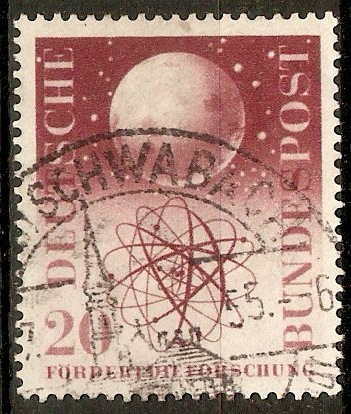 Germany 1955 20pf Cosmic Research stamp. SG1140.