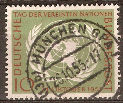 Germany 1955 10pf UN Day stamp. SG1147.