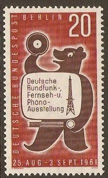 West Berlin 1961 Broadcasting Exhibition Stamp. SGB212.