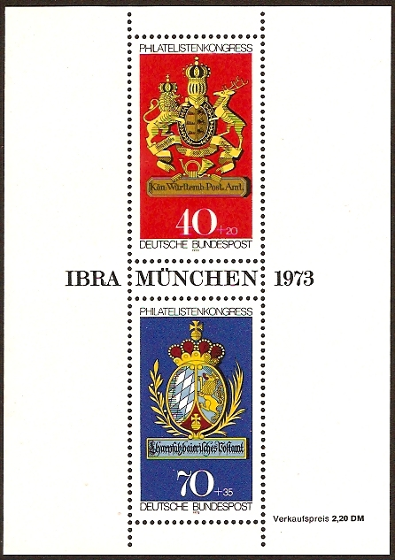 Germany 1973 IBRA 73 Stamp Exhibition Sheet. SGMS1660.