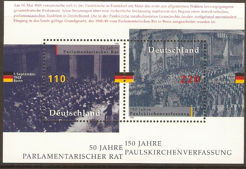 Germany 1998 Parliamentary Anniversaries sheet. SGMS2849.