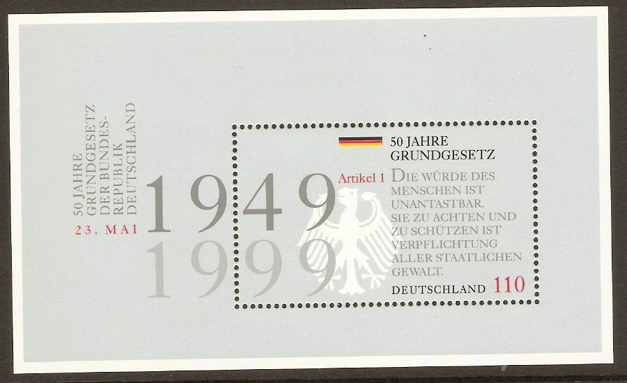 Germany 1999 110pf Basic Law Anniversary Sheet. SGMS2905.