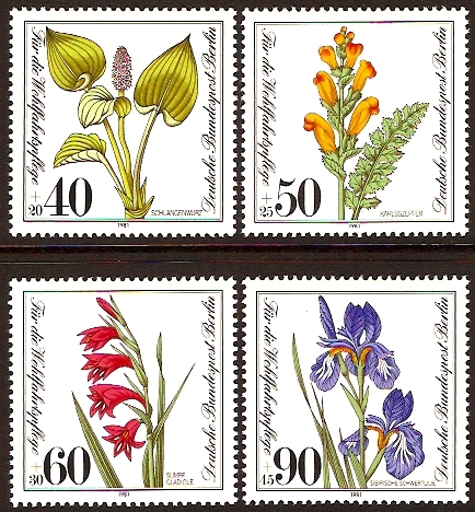 West Berlin 1981 Wild Flowers Set. SGB622-SGB625.