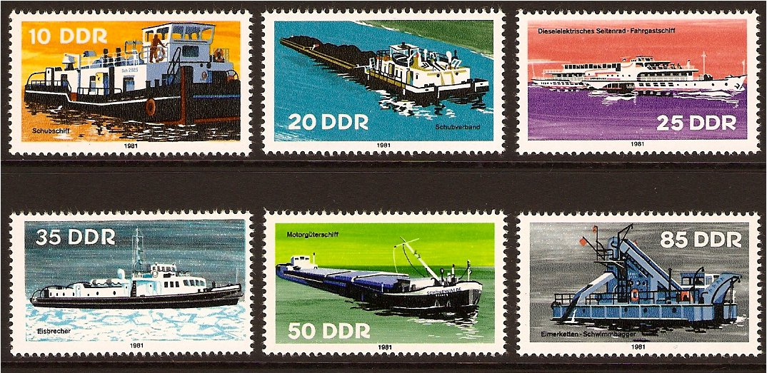 East Germany 1981 Inland Shipping Set. SGE2361-E2366.